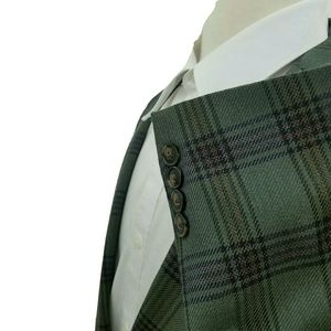 Perry Ellis Modern Fit Green Plaid Blazer 42L/42R